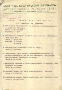 Ryc 1. Plan Pracy SKNG WSP Kraków, 1988 Źródło: Materiały archiwalne