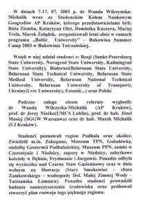 Ryc. 2  Sprawozdanie w wyjazdu, 2003 Źródło: Materiały archiwalne